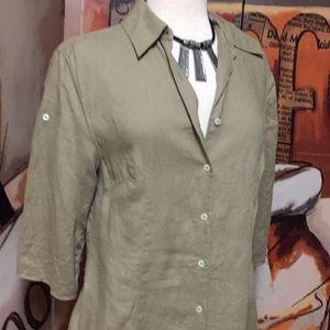 J. Peterman Co. 6 100% Linen Midi Safari Dress